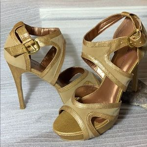 Just Fab Gold Platform Sandals